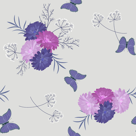 Seamless beautiful vector illustration with asters and butterflies on a light background. For decorating textiles, packaging and wallpaper.