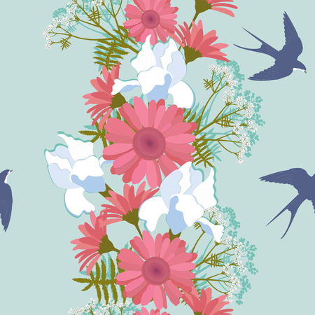 Seamless vector beautiful illustration with flowers of iris, gerbera and swallows. For decorating textiles, packaging and wallpaper.
