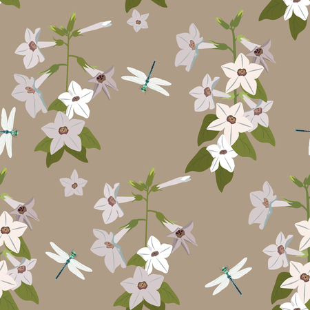 Seamless vector illustration with wildflowers and dragonflies in pastel colors. For decorating textiles, packaging and wallpaper.