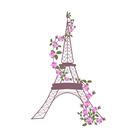 Vector illustration with Eiffel tower and roses on white isolated background. Template for postcard, logo, poster, icon and web design.
