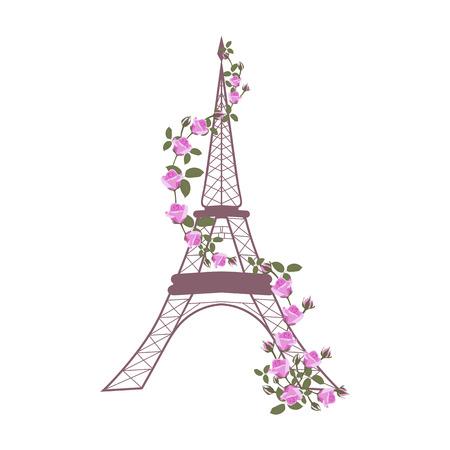 Ilustración de vector con la Torre Eiffel y rosas sobre fondo blanco aislado. Plantilla para postal, logotipo, cartel, icono y diseño web.