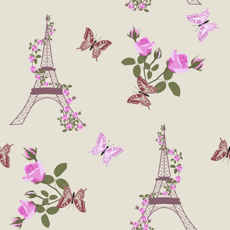 Seamless vector illustration with Eiffel tower, roses and butterflies. For decoration of textiles, packaging and web design. Illustration