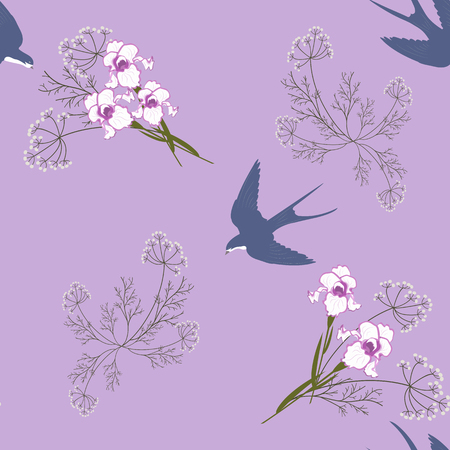 Seamless pattern with field herbs, irises and swallows on a lilac background. For decoration of textiles, packaging and web design. Vector illustration.