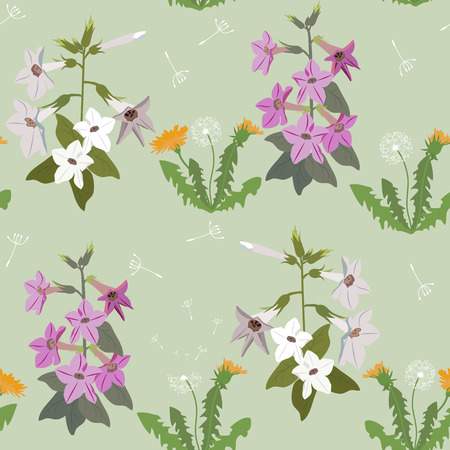 Seamless summer vector illustration with wildflowers on a green background. For decoration of textiles, packaging and web design. Illustration