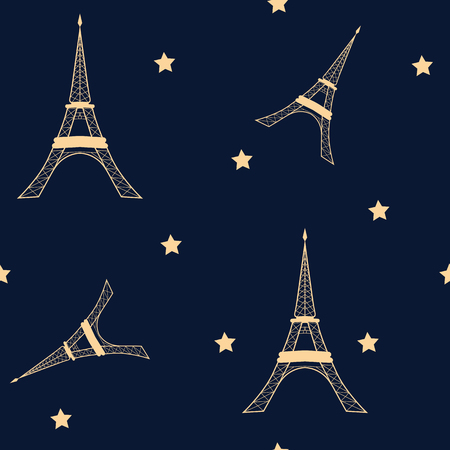 Seamless vector illustration with Eiffel tower and stars on a dark background. For decoration of textiles, packaging and web design.
