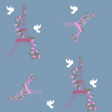 Vector illustration of the Eiffel tower with roses and pigeons. For decorating textiles, packaging, covers.