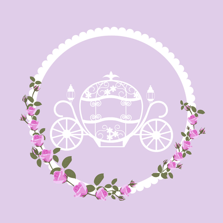 Vector illustration of a carriage for Cinderella with roses. A template for a greeting card, poster, cover, web design. Ilustracja