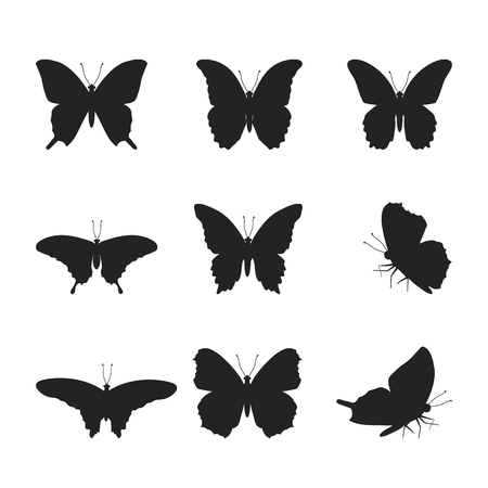 Vector illustration of a set of silhouettes of black butterflies on a white isolated background. Template for design, logo, poster, icons.