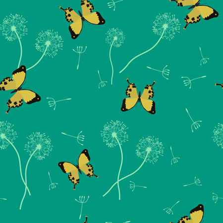 Seamless summer vector illustration with butterflies and dandelion. For decoration of textiles, packaging and web design.