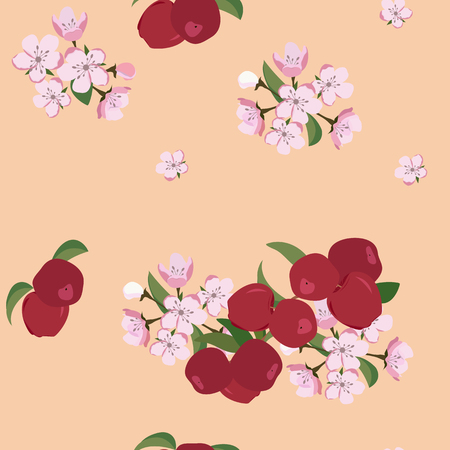 Seamless vector illustration with flowers of apple and apples on a beige background. For decoration of textiles, packaging and web design.
