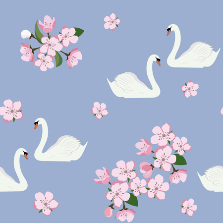 Seamless pattern with swans and a blooming apple on a blue background. For decoration of textiles, packaging and web design. Vector illustration.