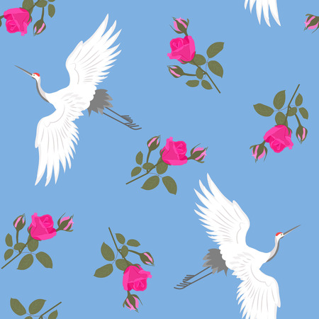 Seamless beautiful vector illustration with cranes and roses on a blue background. For decorating textiles, packaging and wallpaper.