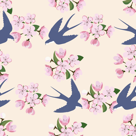 Seamless pattern with a blooming apple and swallows. For decorating textiles, packaging and wallpaper. Vector illustration.