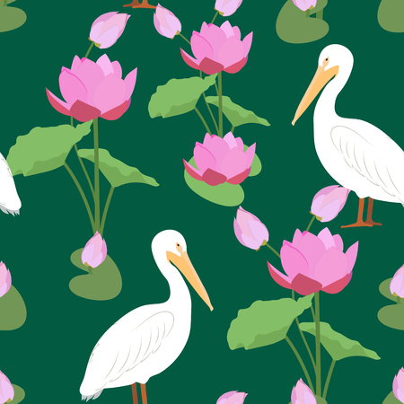Seamless vector illustration with pelicans and lotus on a dark background. For decoration of textiles, packaging and web design.