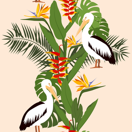 Seamless beautiful vector illustration with tropical plants and pelicans. For decorating textiles, packaging and wallpaper.