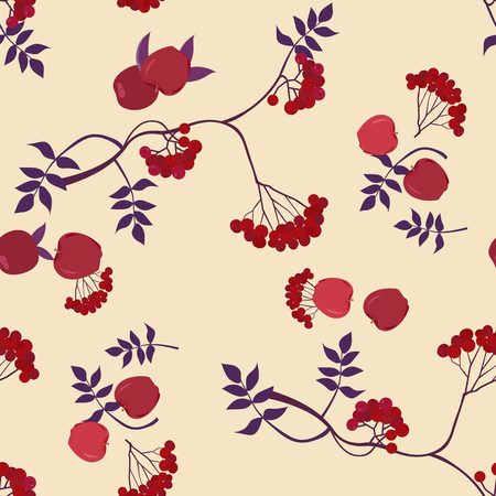 Seamless pattern with apples and berries of mountain ash on a beige background. For decoration of textiles, packaging and web design. Vector illustration. 矢量图像