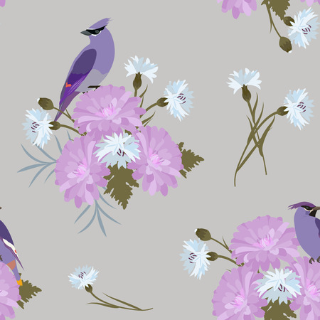 Seamless pattern with flowers of chrysanthemums, cornflowers and birds on a gray background. For decoration of textiles, packaging and web design. Vector illustration.
