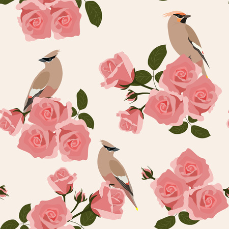 Seamless gentle vector illustration with roses and birds on a light background. For decorating textiles, packaging and wallpaper.