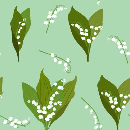 Nahtlose Vektor-Illustration mit Maiglöckchen auf grünem Hintergrund. Zur Dekoration von Textilien, Verpackungen und Webdesign. Vektorgrafik
