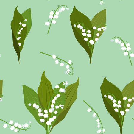 Seamless vector illustration with may lily of the valley on a green background. For decoration of textiles, packaging and web design.
