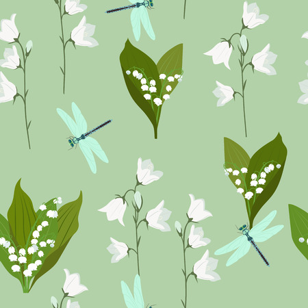 Seamless summer pattern with campanula, lily of the valley and dragonflies on a green background. For decoration of textiles, packaging and web design. Vector illustration.