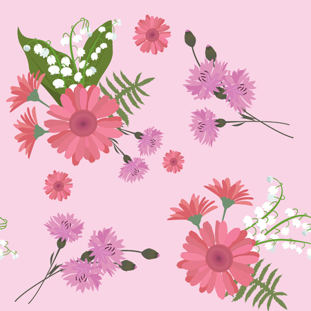 Seamless vector illustration with gerberas, lily of the valley and cornflowers on a pink background. For decorating textiles, packaging and wallpaper.
