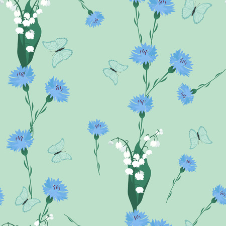 Vector seamless illustration with field cornflowers, lily of the valley and butterflies on a green background. For decoration of textiles, packaging, covers and web design.