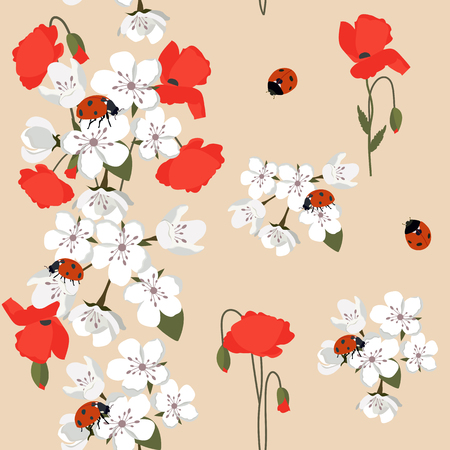Vector seamless illustration with blooming sakura, poppies and ladybirds on a beige background. For decorating textiles, packaging and wallpaper.