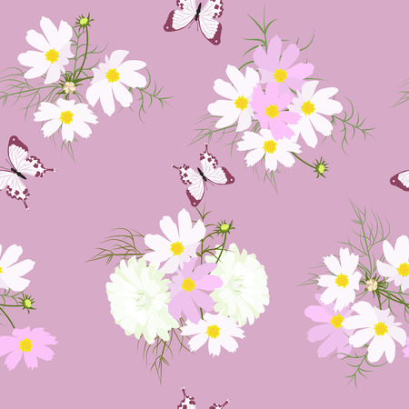 Seamless summer vector illustration with asters, flowers and kosmei and butterflies. For decoration of textiles, packaging, cover, wallpaper.