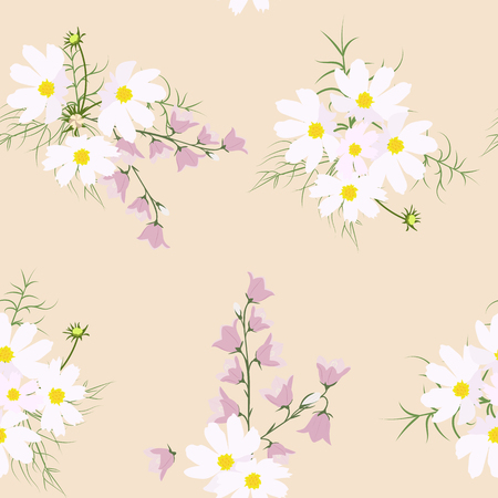 Vector seamless illustration with bells and a kosmeja on a beige background.For decoration of textiles, packaging, covers, wallpapers.
