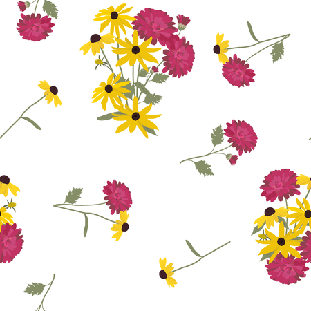 Seamless vector illustration with flowers of rudbeckia and asters on a white background. For decorating textiles, packaging, web design.