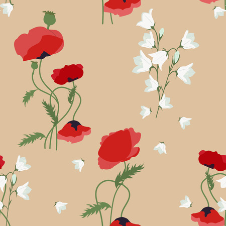Vector seamless illustration with poppies and field bells on a beige background. For decoration of textiles, packaging, wallpaper.