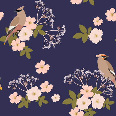Seamless beautiful pattern with rose hips and birds waxwing on a dark background. For decoration of textiles, packaging, wallpaper. Vector illustration. Vettoriali