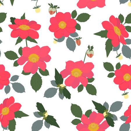 Nahtlose Vektorillustration mit roten Geranien auf einem weißen Hintergrund. Zum Dekorieren von Textilien, Verpackungen und Tapeten.