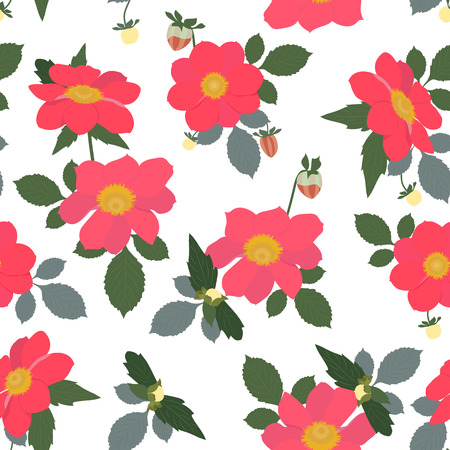 Seamless vector illustration with red geraniums on a white background. For decorating textiles, packaging and wallpaper.