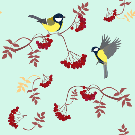 Seamless vector illustration with branches of mountain ash and titmouse. For decorating textiles, packaging, covers, web design.