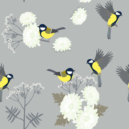 Seamless vector illustration with chrysanthemums and titmouse on a gray background. For decoration of textiles, packaging, cover, wallpaper.