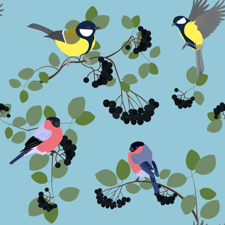 Vector seamless illustration with berries of black mountain ash, titmouse and bullfinch on a blue background. For decorating textiles, packaging, covers, web design.
