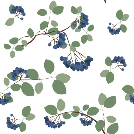 Seamless vector illustration with berries of mountain ash on a white background. For decorating textiles, packaging, covers, web design.