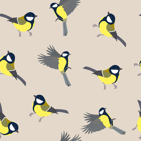 Seamless vector illustration with titmouse on a beige background. For decorating textiles, packing, cover. Vectores