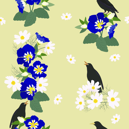 Vector seamless illustration with wildflowers and a starling on a green background. For decorating textiles, packaging, covers, web design.