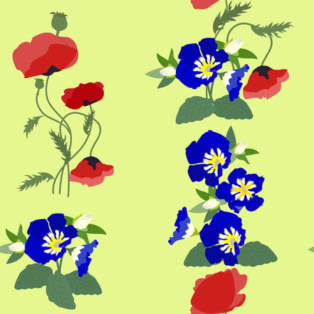 Seamless vector colorful illustration with poppies and wildflowers. For decoration of textiles, packaging, wallpaper.