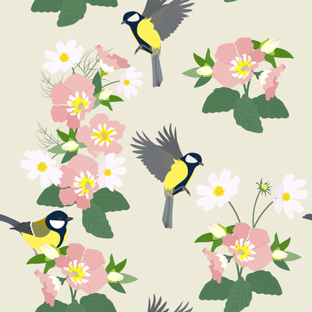 Seamless vectorial beautiful illustration with wildflowers and titmouse on a gray background. For decoration of textiles, packaging, cover, wallpaper.