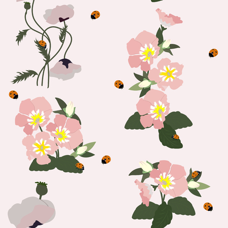 Seamless vector illustration with poppies, bindweed and ladybugs. For decorating textiles, packaging, covers, web design.