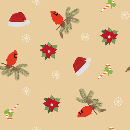 Seamless vector Christmas illustration with bird Cardinal, Poinsettia, Santa hat on beige background. For decoration of textiles, packaging, web design.