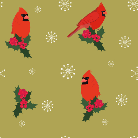 Seamless vector Christmas illustration with a cardinal bird and holly berries on a gold background. For decorating textiles, packaging, covers, web designs.