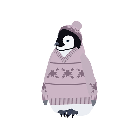 Vector illustration with a penguin in a sweater and hat on a white isolated background. Template for postcard, logo, web design.