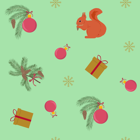 Seamless vector christmas illustration with squirrel, christmas balls, gifts. For decoration of textiles, packaging, web design. Stock Illustratie