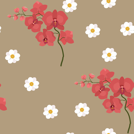 Seamless vector illustration with gentle orchids and dahlias. For decoration of textiles, packaging, web design.
