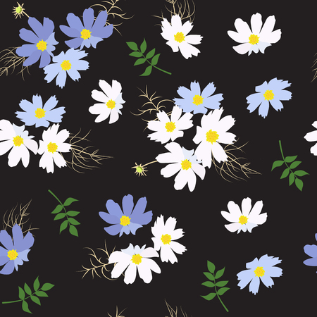 Seamless vector illustration with delicate wildflowers on a black background. For decoration of textiles, packaging, web design.